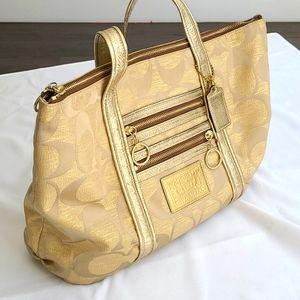 Coach Gold Logo Shoulder Bag